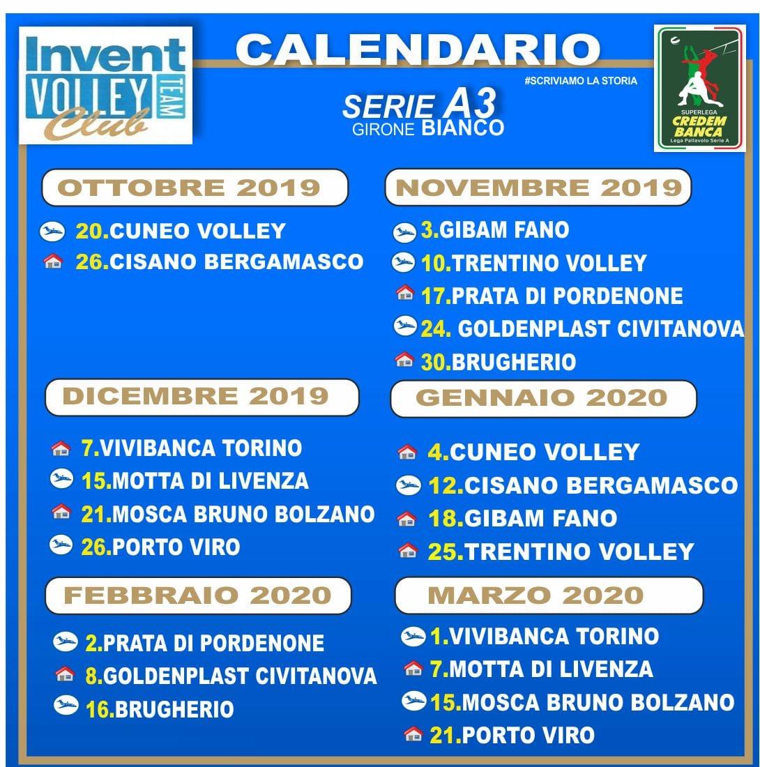 Calendario gare Invent VTC  Serie A3 stagione 2019-20
