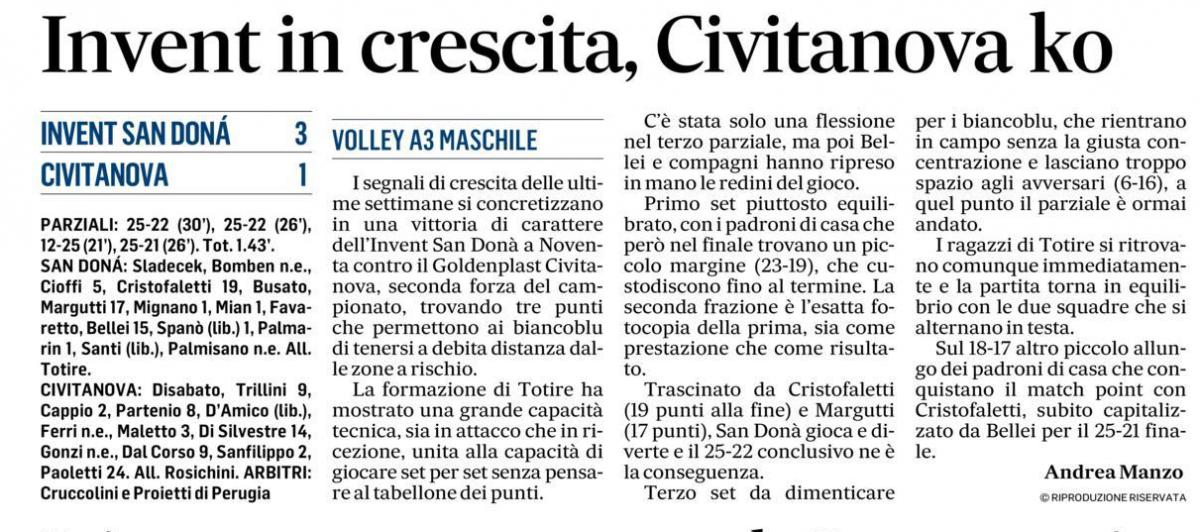 La vittoria di domenica su Civitanova, raccontata dalla stampa locale